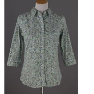 Green Floral Button down Shirt Size S